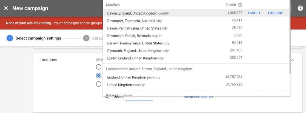 Image of AdWords interface showing location targeting