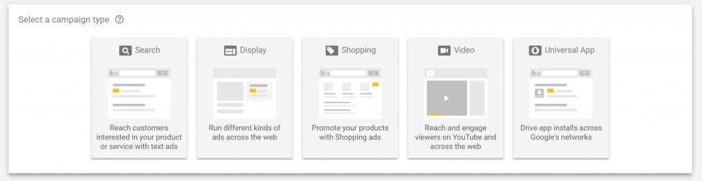 Image of campaign types in Google AdWords
