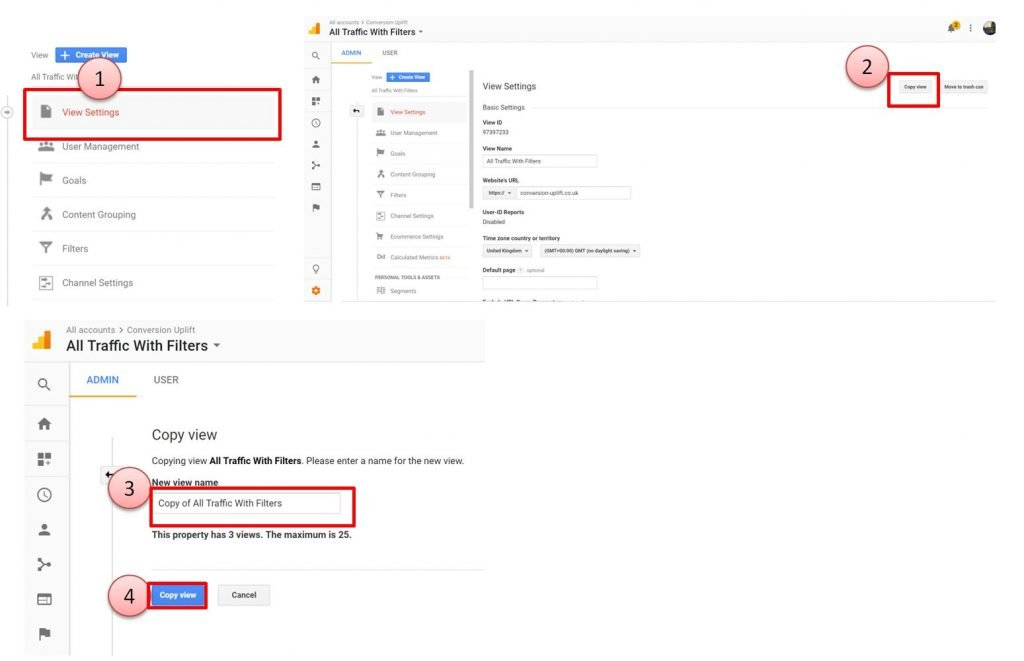 Image of how to copy a Google Analytics view