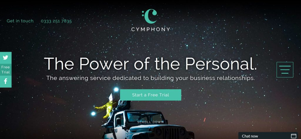 Image of Cymphony.co.uk desktop homepage with a hamburger icon hiding the navigation