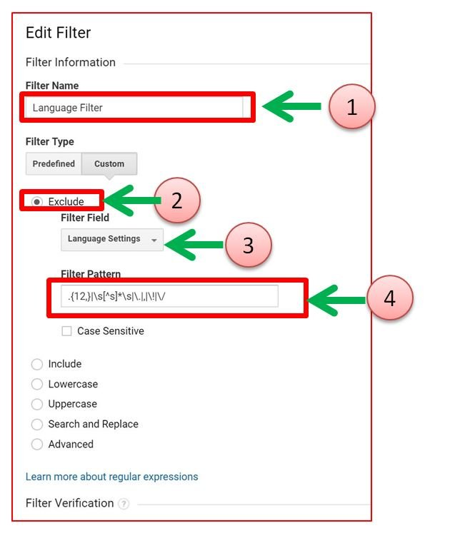 Image of Google Analytics language spam filter