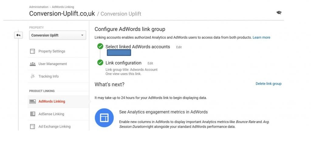 Image of linking Google Analytics to AdWords