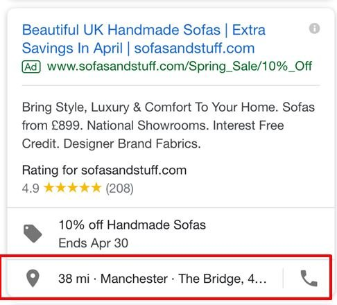 Image of PPC ad with location extensions
