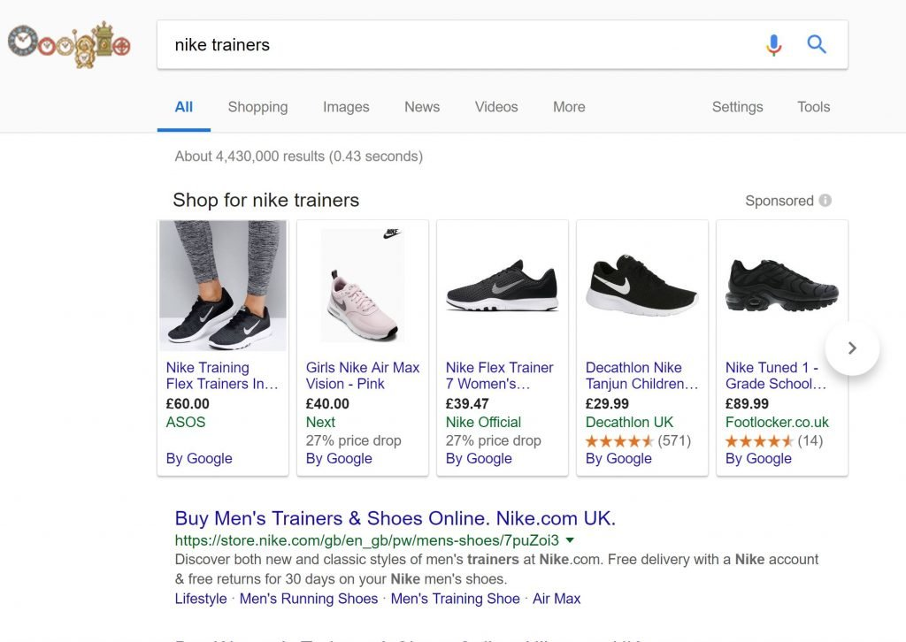 Image of Google Product Listing Ad
