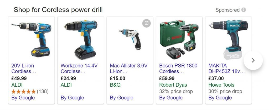 Image of product listing ad for powerdrill