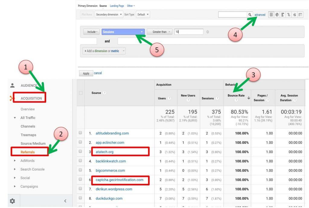Image of Google Analytics Referrals report