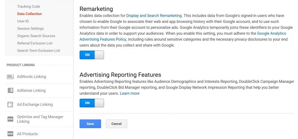 Image of remarketing in Google Analytics for AdWords