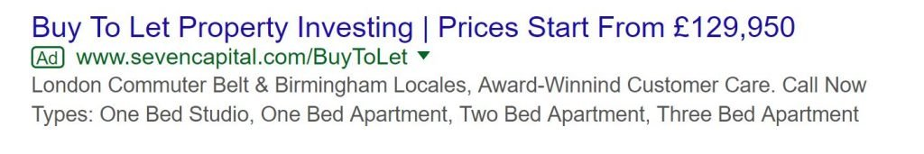 Image of PPC text ad for buy to let with structured snippet extensions