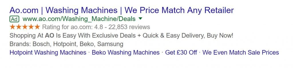 Image of PPC ad with seller rating extension