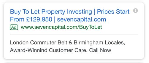 Image of PPC text ad for buy to let