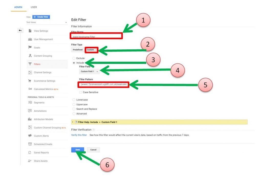 Image of creating valid hostname filter in Google Analytics