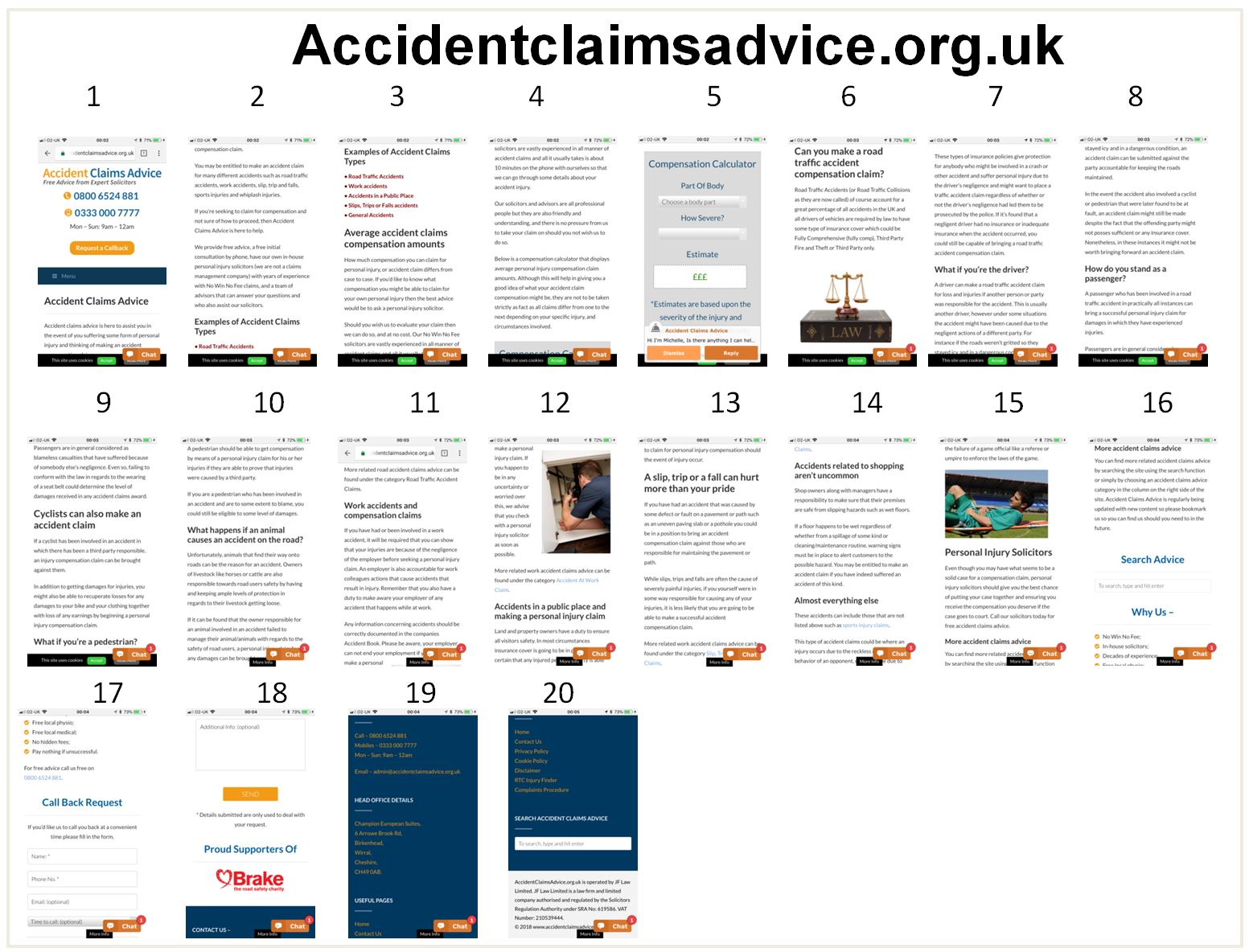 Image of accidentcliamsadvice.org.uk landing page