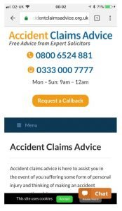 Image of Accidentclaimsadvice.org.uk personal injury landing page