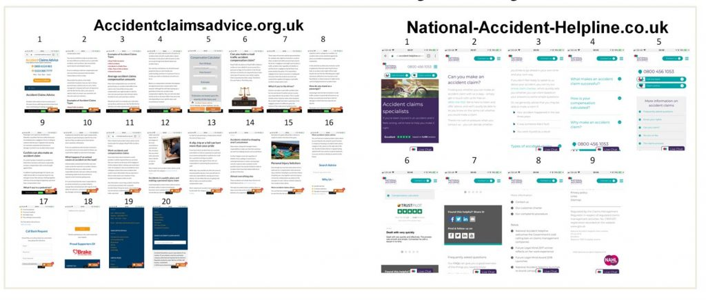 Image of two different personal injury landing pages