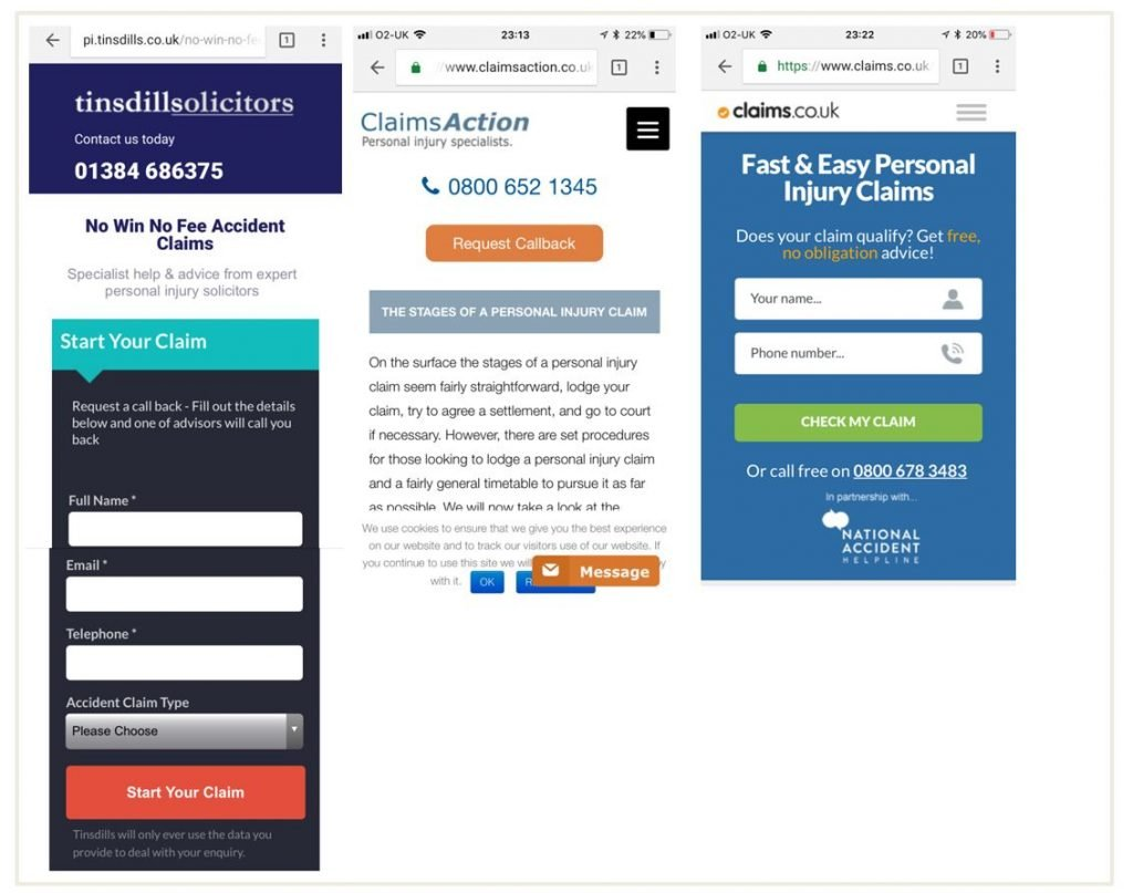 Images of prominent CTAs on personal injury landing pages