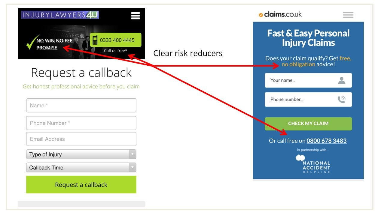 Image of risk reducers for personal injury landing pages