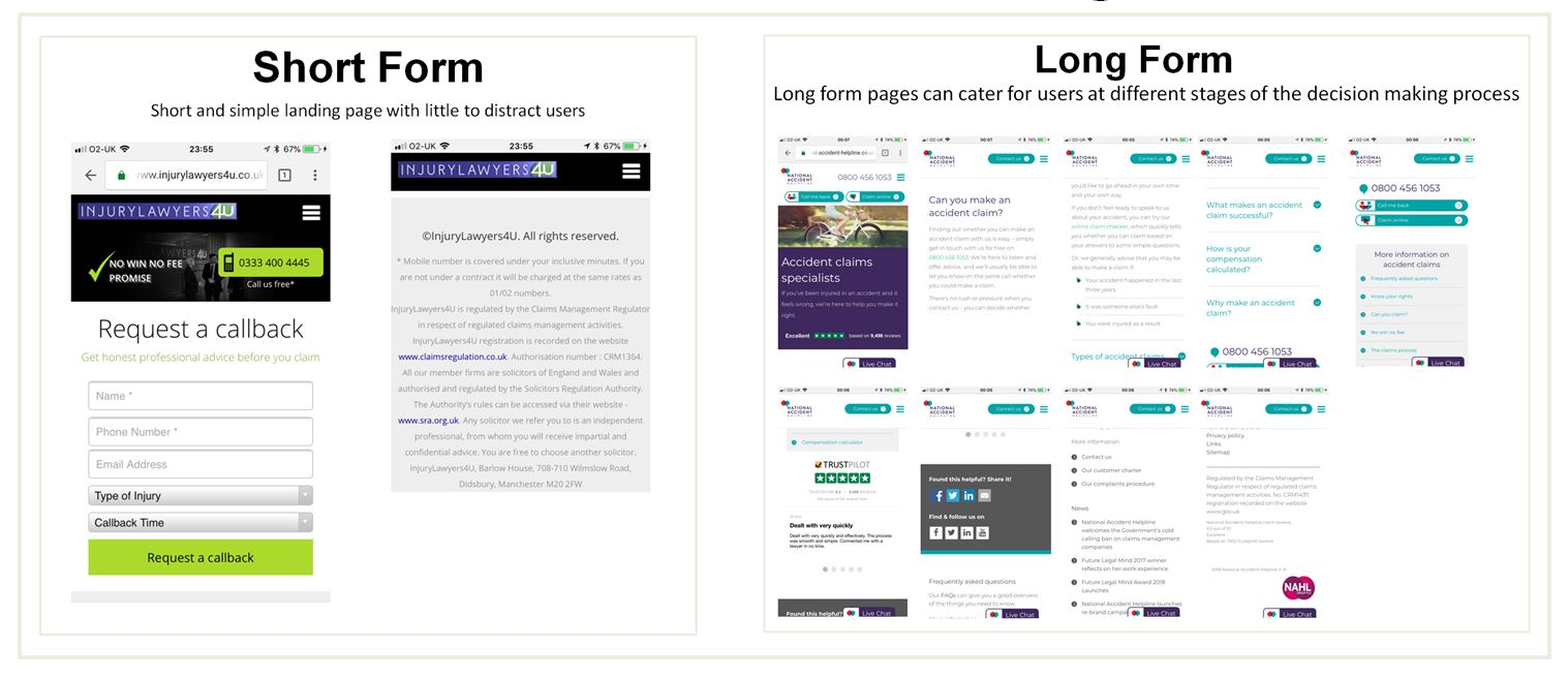 Image of short form and long form personal injury claims landing pages