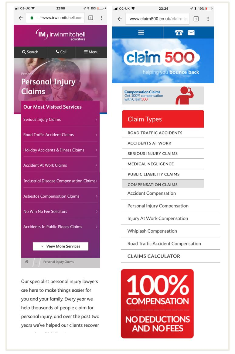 Image of personal injury landing pages which display too many choices