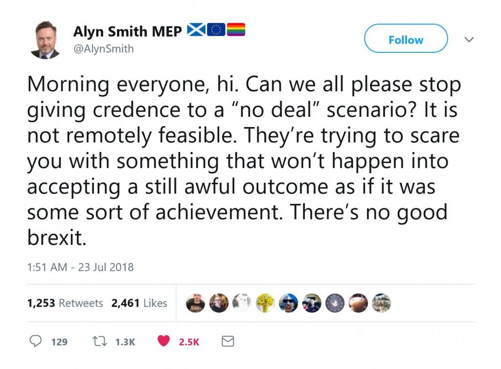 Image of tweet by Alyn Smith MEP stating why no deal won't happen