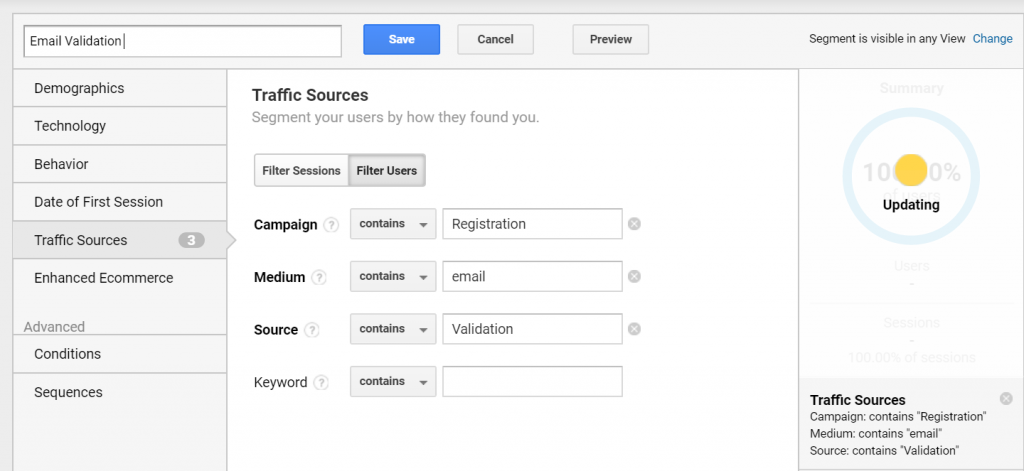 track clicks in emails for custom segments