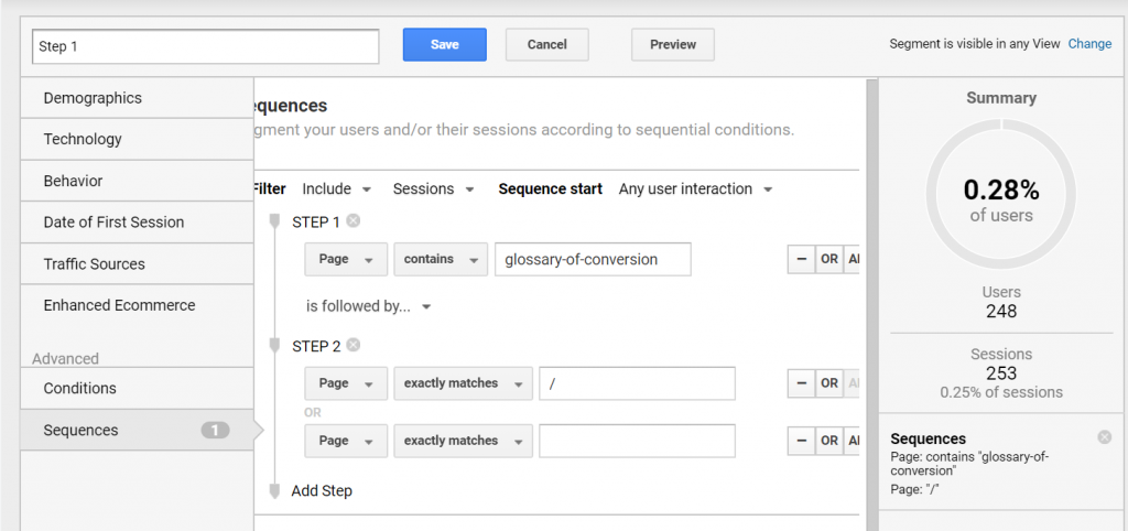 Google Analytics customer goals using sequences