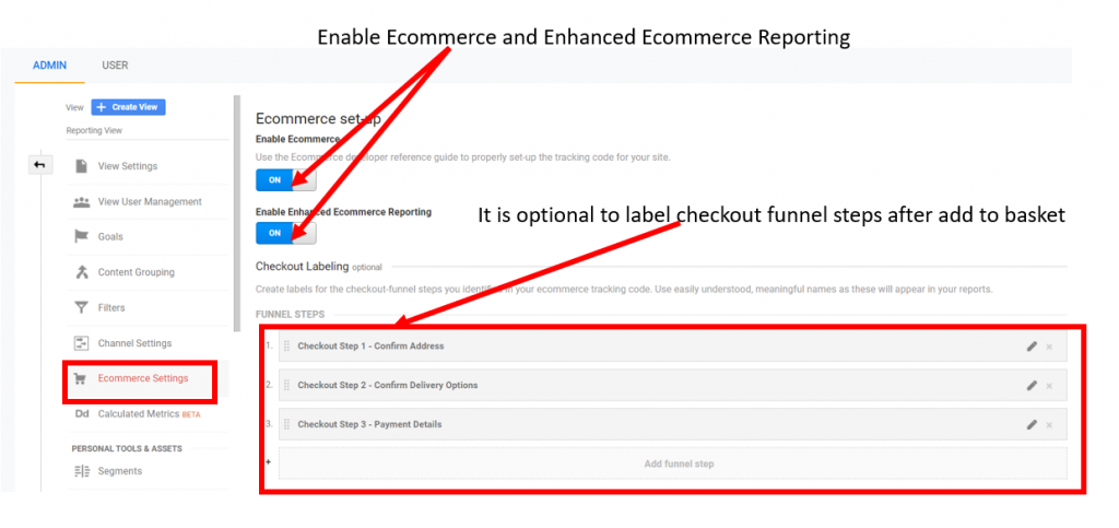 Enable Ecommerce reporting in Google Analytics
