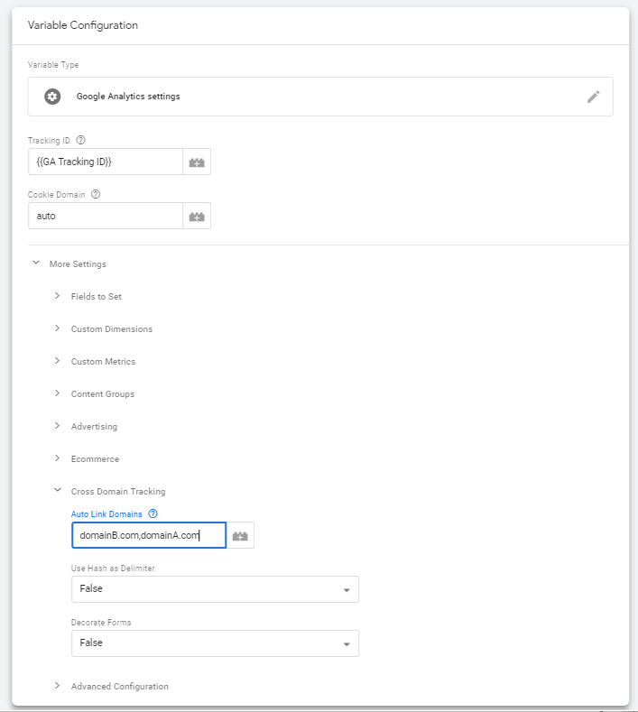 Auto-link domains in Standard GA Settings variable