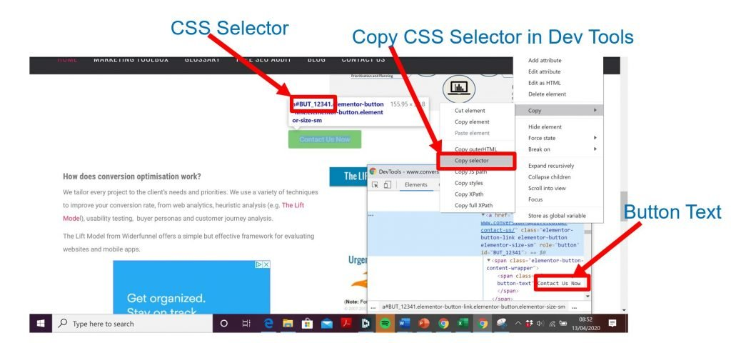 Copy CSS Selector using Dev Tools