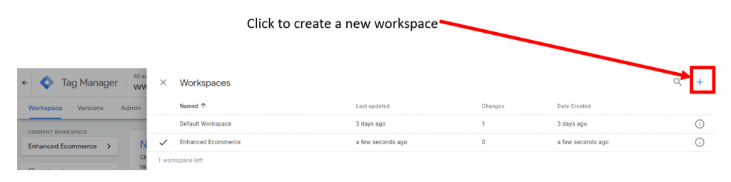 Create a new Google Tag Manager Workspace