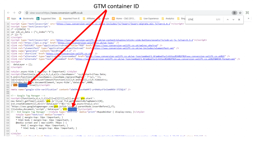 Google Tag Manager code in source code