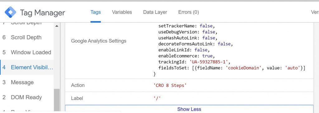 Element Visibility tag fires in GTM preview window
