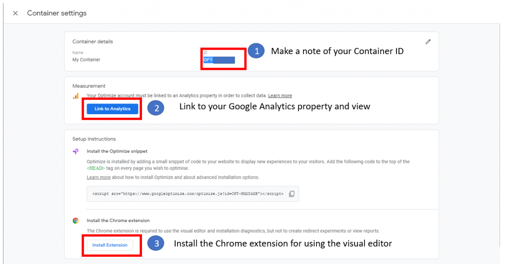 Google Optimize container settings
