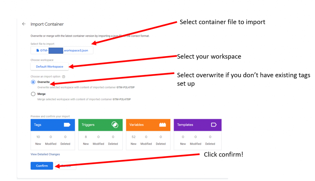Import Google Tag Manager container