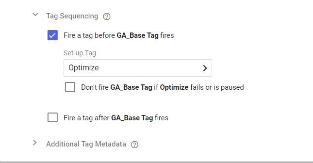 Page view tag with tag sequence set