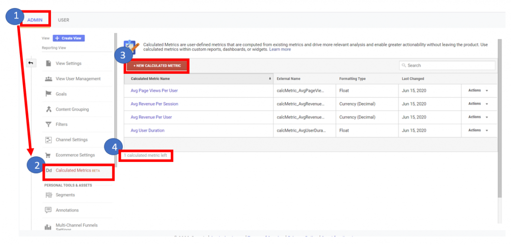 Creating a new Calculated Metric in Google Analytics