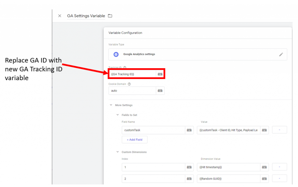 GA Settings Variable to replace the GA ID with new GA Tracking ID Variable