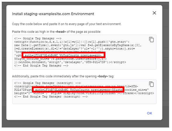 GTM Environment snippet with authentication token