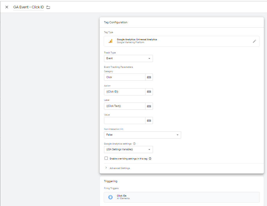 A Click ID tag in Google Tag Manager