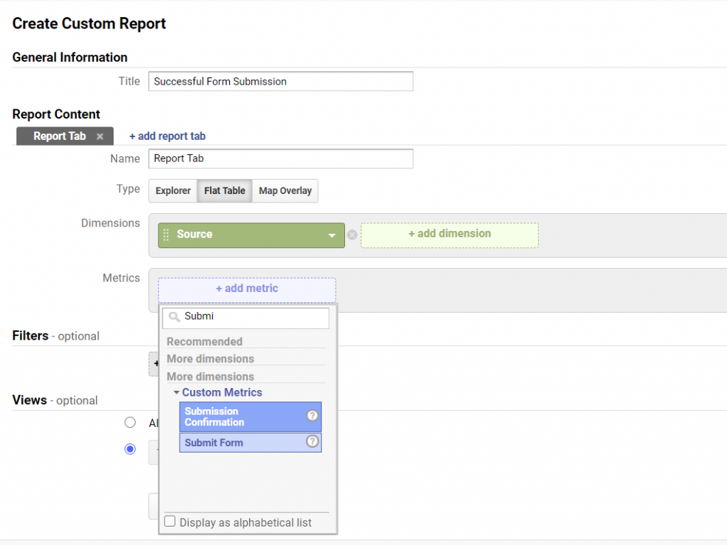 Adding custom metrics to a custom report in Google Analytics