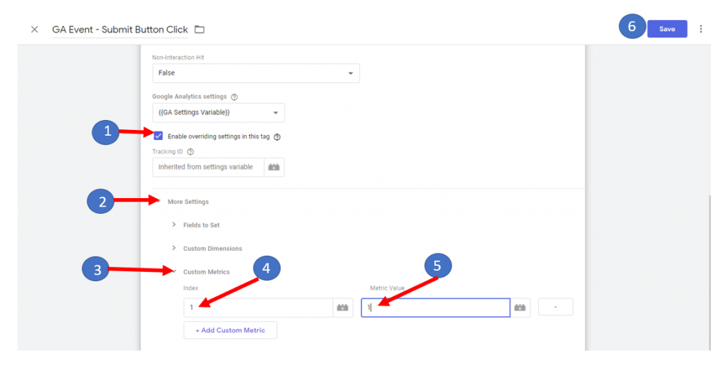 Implement custom metrics in Google Tag Manager