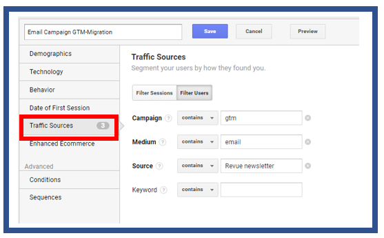 Traffic source segment menu