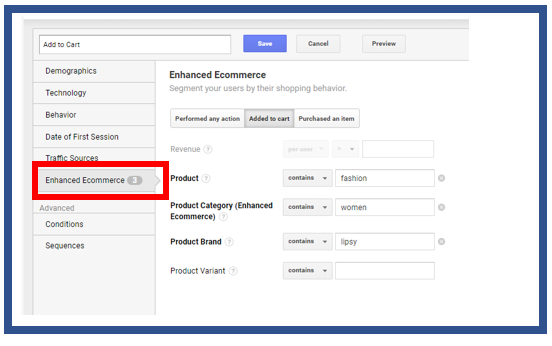 Enhanced ecommerce segment menu