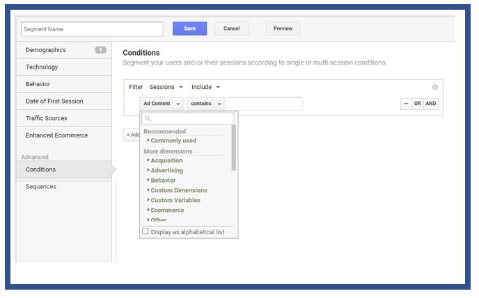 Advanced conditions segment menu