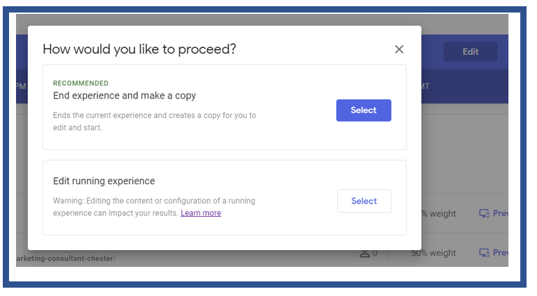 Edit Running Experience in Google Optimize