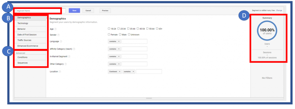 Menu for new custom segment in Google Analytics
