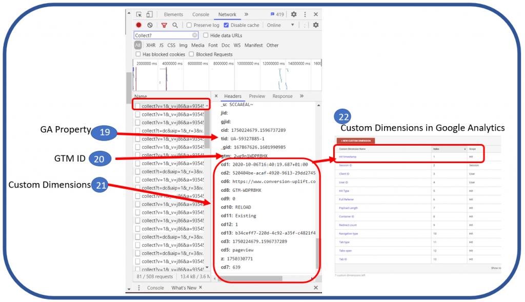 Network tab - custom dimensions