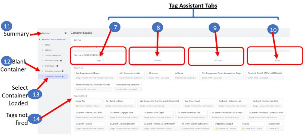 GTM Tag Assistant Tag Tab