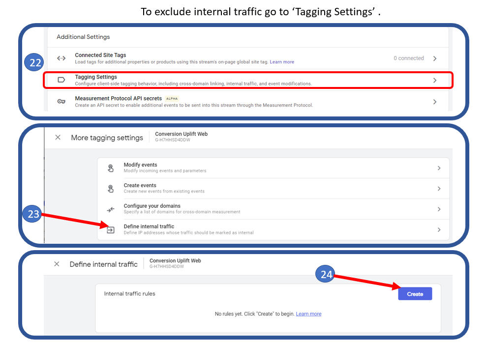 12 Additional Settings in GA4 to exclude internal traffic