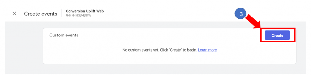 3. Create events button in GA4