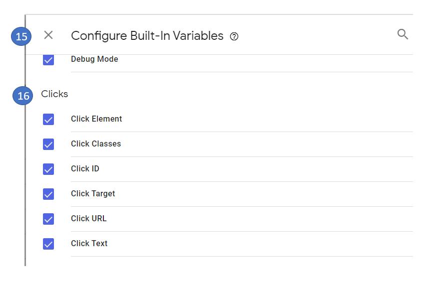 7 Enable built in variables in GTM